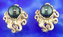 8mm Tahitian Pearl Ocotopus Earrings by Steven Douglas