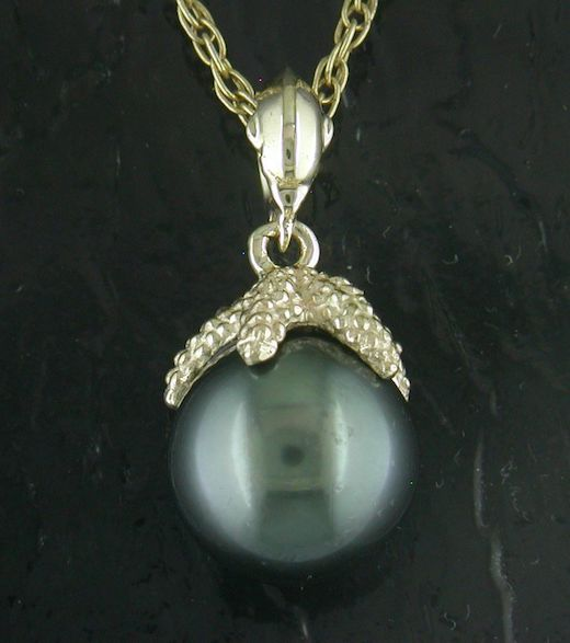 Tahitian Pearl Starfish & Dolphin Pendant by Steven Douglas
